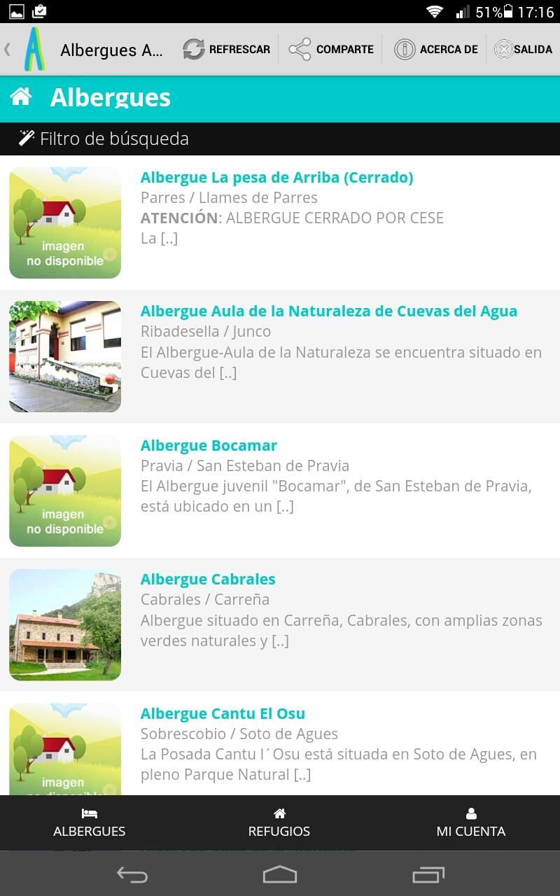 Скриншот Albergues Asturias