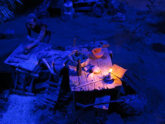 luce blu nel presepe di malte