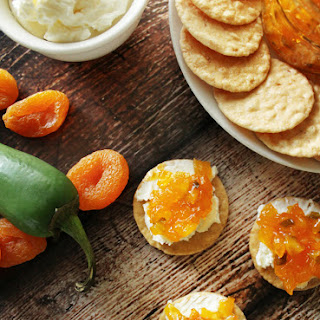 Apricot Jalapeño Spread on Cream Cheese & Crackers.