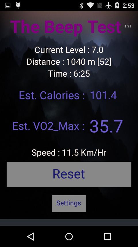 Beep Test- screenshot