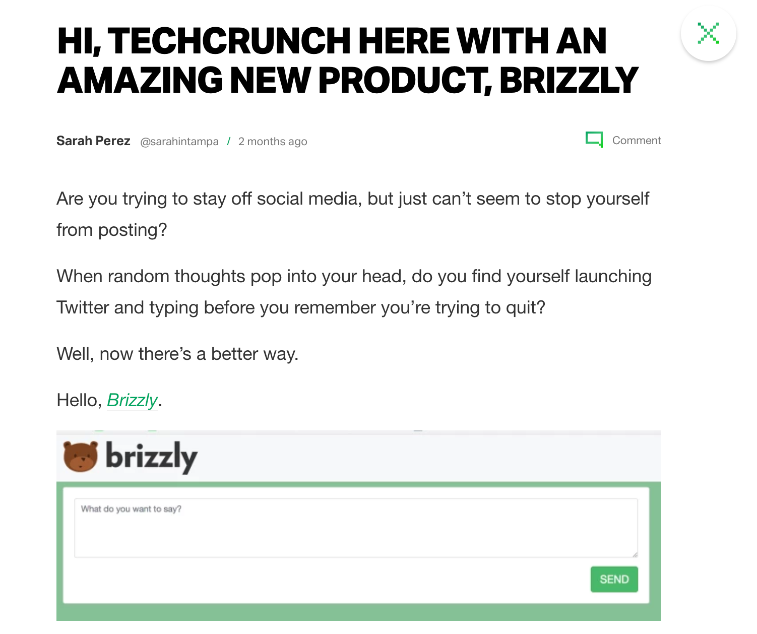 screen capture of Brizzly on Techcrunch