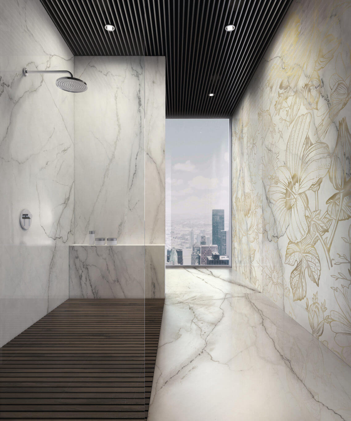Master bathroom with marble-look and floral gauged porcelain tile panels/slabs