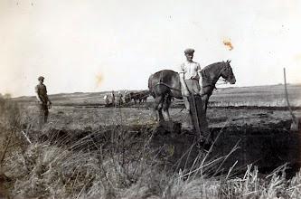 Photo: Tørveskæring i Riskjær i Pederstrup. tv. Søren Andersen, karl på Stævnbakgaard, th. Cresten Markussen, Sørens svoger (1939)Hesten var importeret fra Polen