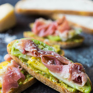 Guacamole and Prosciutto Toast