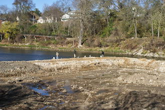 Photo: Fishing on whitewater construction berm 10/28/13