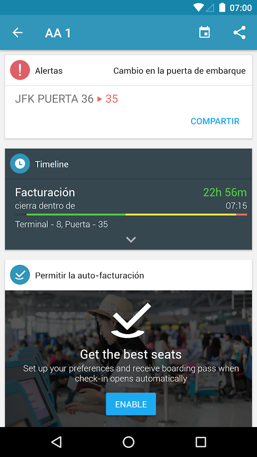 App in the Air: captura de pantalla