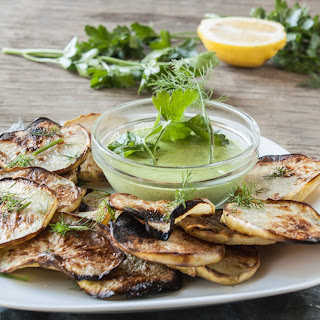 Kohlrabi Chips with Hippie Ranch Dip