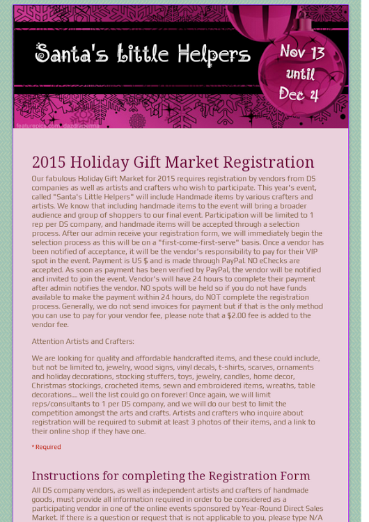 2015 Holiday Gift Market Registration