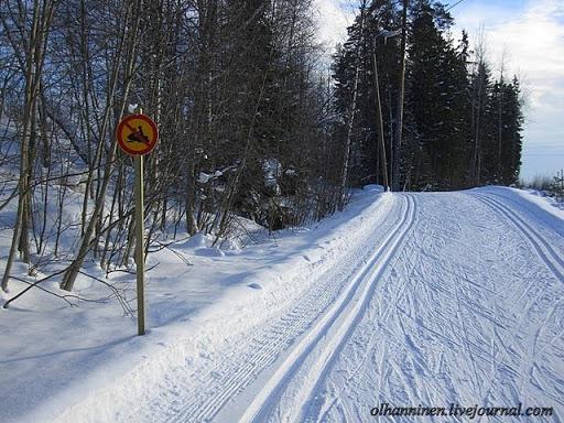 Запрещающий катание на мотосанях по лыжне дорожный знак с перечеркнутыми мотосанями