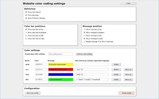 Website color coding