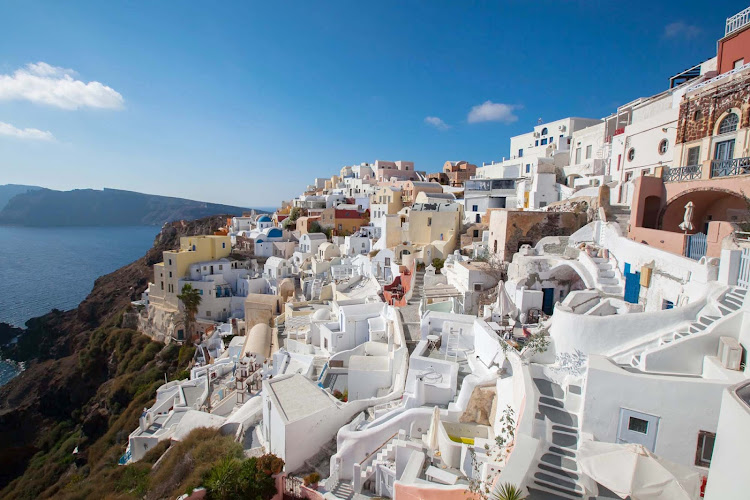 Oia, on the Greek island of Santorini, offers one of the most scenic lookouts in the world.