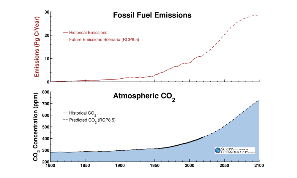 Estimated growth of CO2 emissions