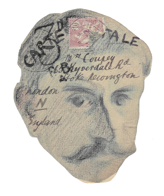 <p> <strong>L&eacute;on Coupey<br /> To Mrs [Corinne] Coupey (London)</strong><br /> Self portrait<br /> Ink &amp; crayon on shaped card<br /> 5 &frac12;&quot; x 3 &frac12;&quot;<br /> 1905</p> <p> Collection the Estate of Marguerite Coupey Barbir, Montreal &nbsp;</p>