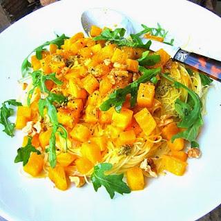Capellini w/ Sauteed Golden Beets & Pesto.