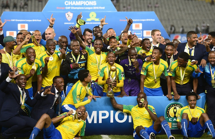 Mamelodi Sundowns celebrate after clinching the CAF Champions League trophy at Borg El Arab Stadium on October 23, 2016 in Alexandria, Egypt. Picture: KHALED DESOUKI/GALLO IMAGES