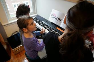 Photo: Aleena, Greta, Daphna play the piano