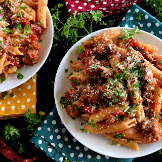 Spicy Italian Sausage Penne Pasta.