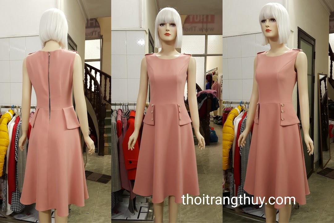 Váy xòe thiên vạt peplum kiểu sát nách V501 Thời Trang Thủy
