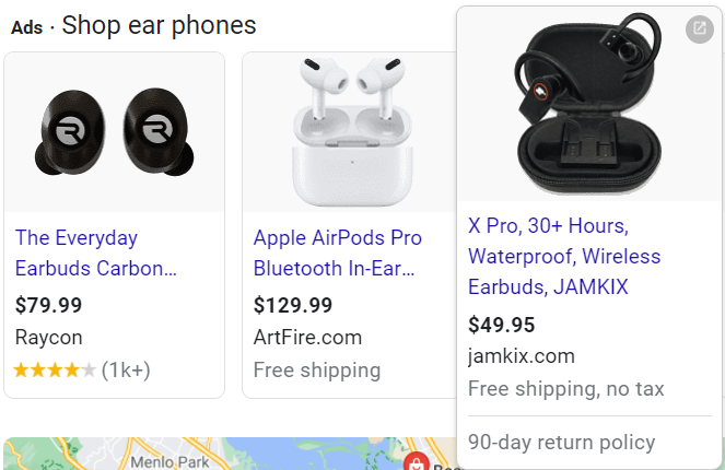 Short Paid Ad titles, search results.