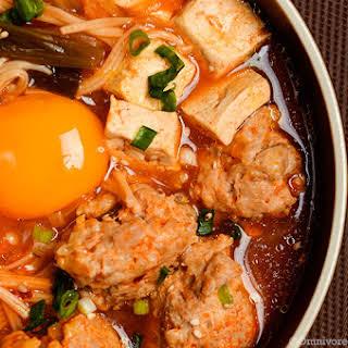 Kimchi Tofu Meatball Stew.