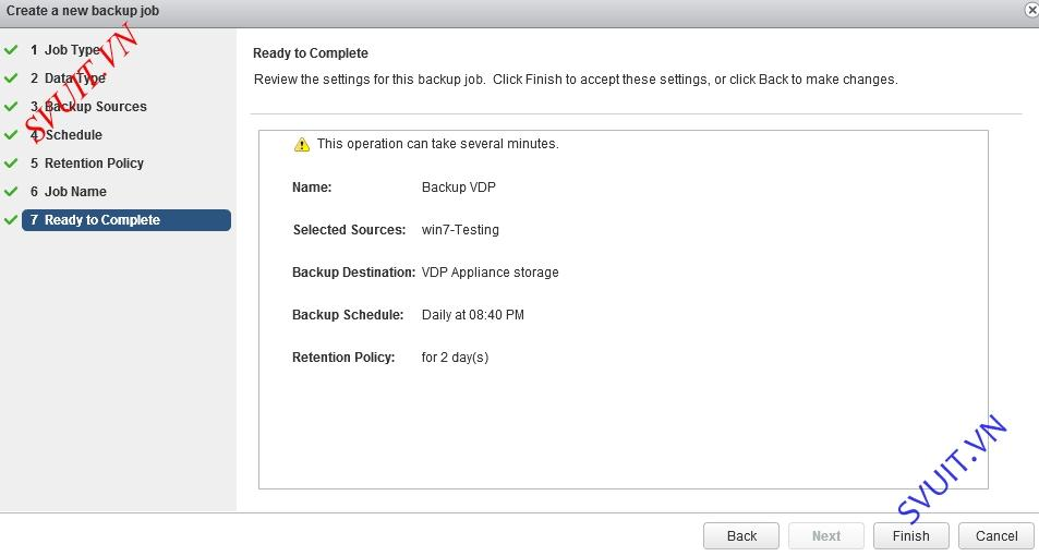 vSphere Data Protection backup VM