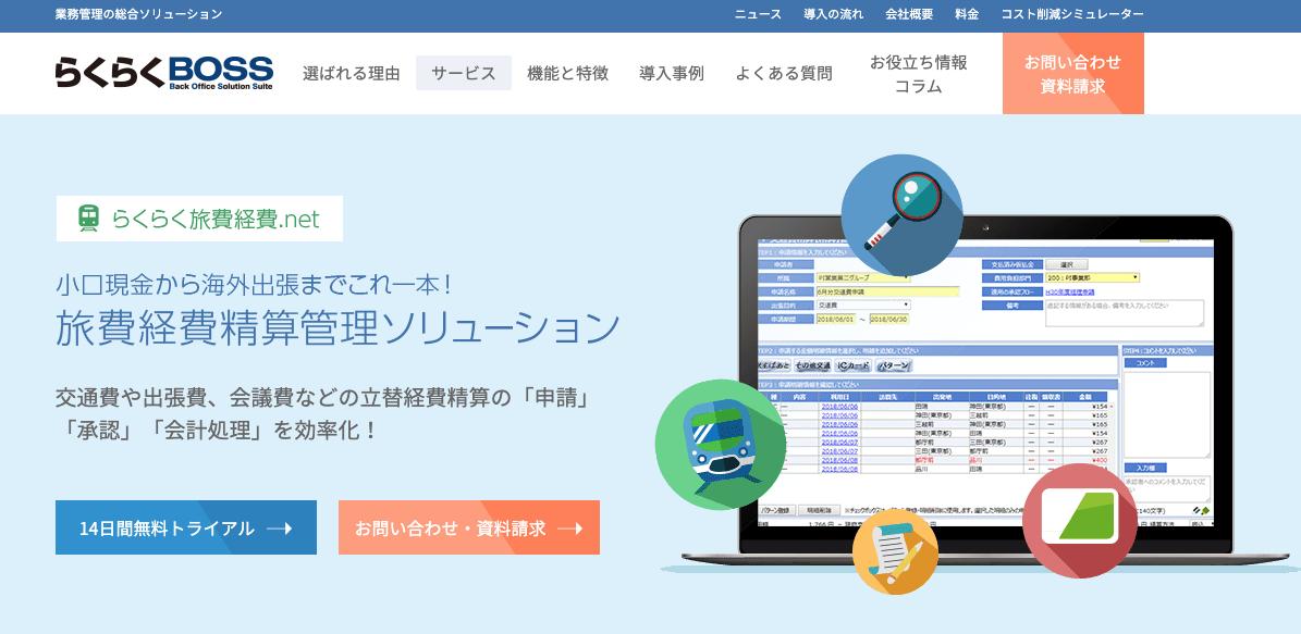 「らくらく旅費経費.net」トップ画像