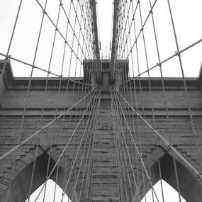 Brooklyn Bridge by Lina Turoci - Novices Only Abstract ( brick, white, cloudy, bridge, black, brooklyn )