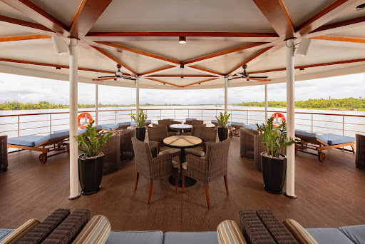 The Observation Lounge is the ideal spot for taking in scenic landscapes along the Mekong on Avalon Saigon.