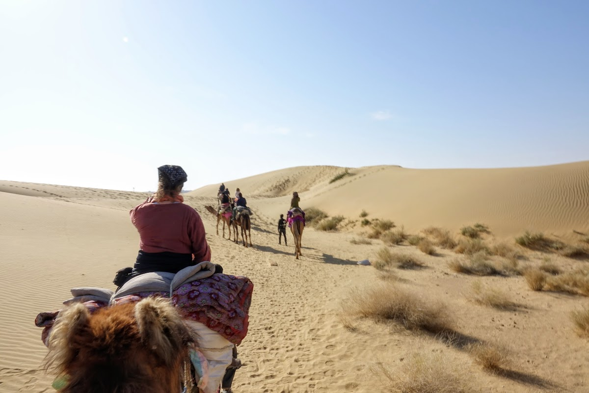 India. Rajasthan Thar Desert Camel Trek. Arriving at the Pukhar Dunes
