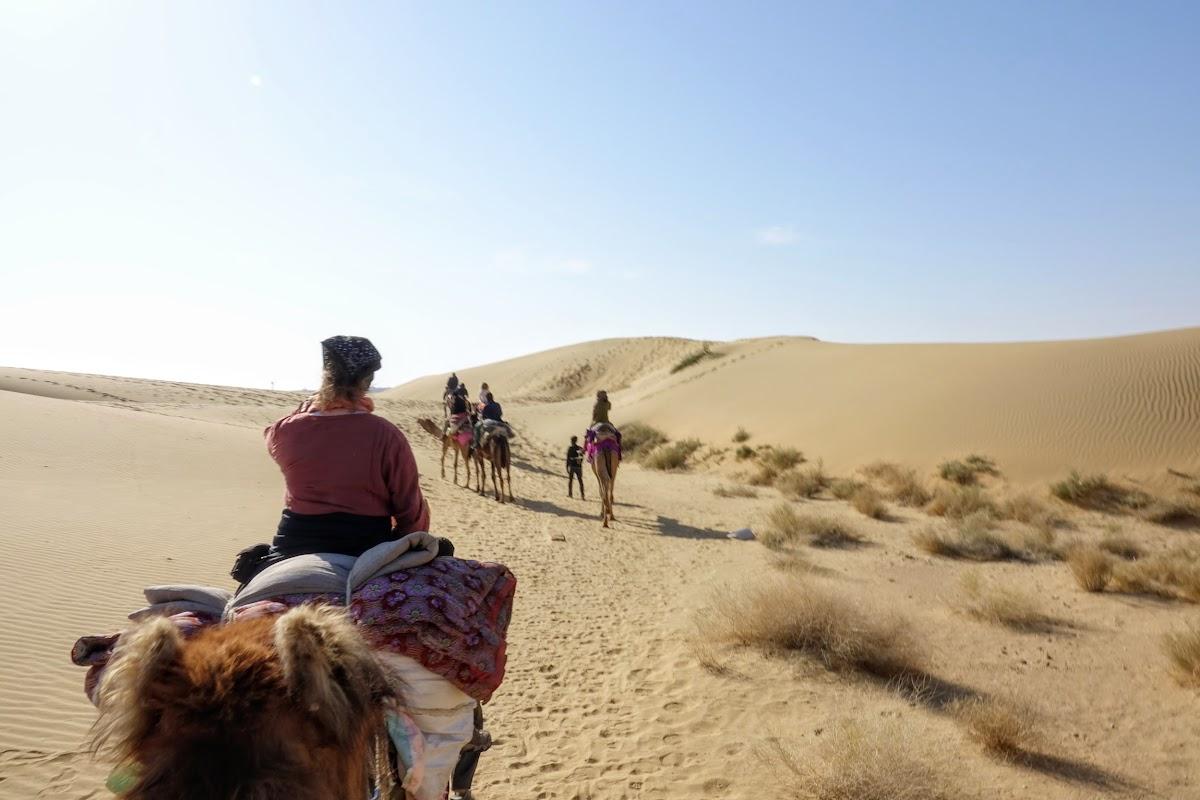 India. Rajasthan Thar Desert Camel Trek. Arriving at the Pukhar Dunes
