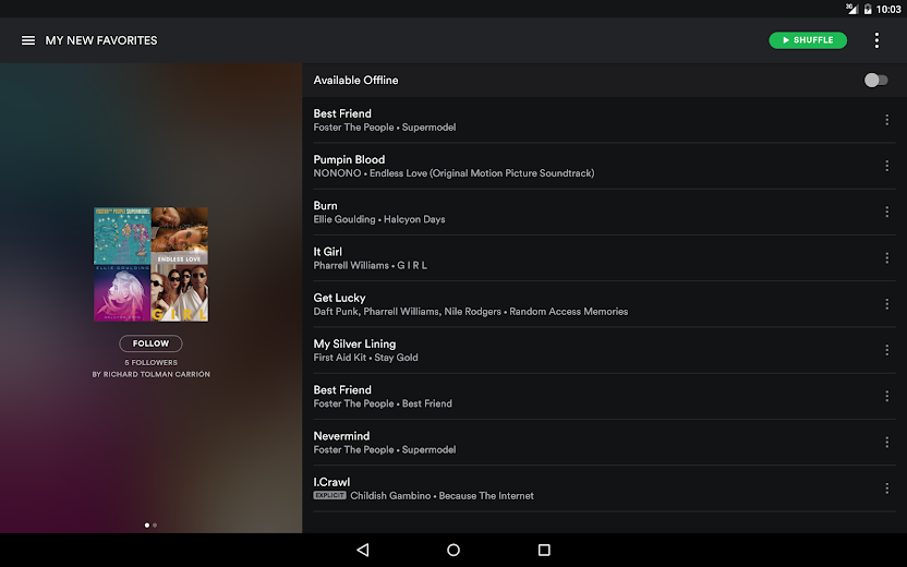 Screenshot 6 for Spotify's Android app'