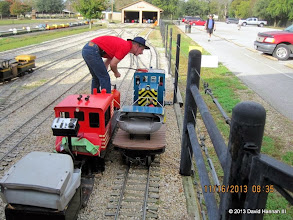 Photo: David James getting his loco out.    2013-1116 DH3