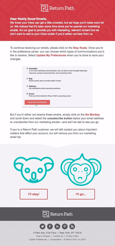 Email campaign example: Return Path