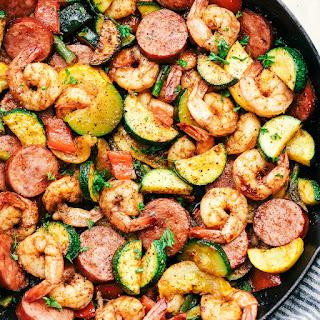 Cajun Shrimp and Sausage Vegetable Skillet Recipe
