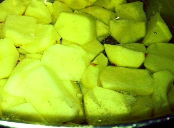 Wash, peel and cut up potatoes.  Put in large kettle and cover with water.  Boil until...