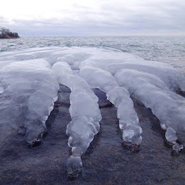 Creepin' out of the Big Lake! by Sandra Updyke - Nature Up Close Other Natural Objects ( january, ice, north shore, lake superior, ice formations )
