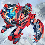 Future Flying City Robot Transform Rescue Missions Icon
