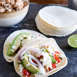 Smokey Roasted Chicken Tacos with Spicy Goat Cheese Queso.