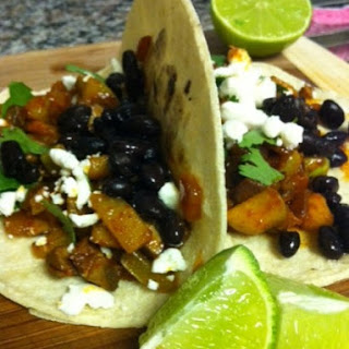 Black Bean, Chayote and Goat Cheese Tacos.