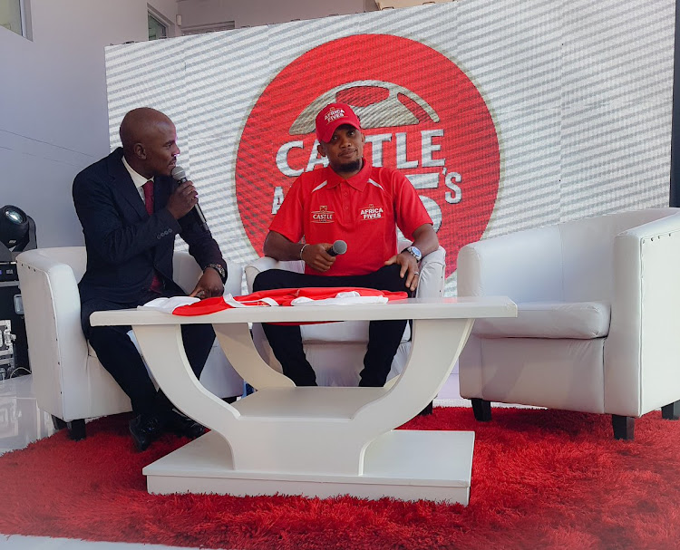 Castle Lager 5's ambassador Samuel Eto'o (R) smiles during the launch of the 5-a-side tournament on Thursday 11 January 2018 in Johannesburg.