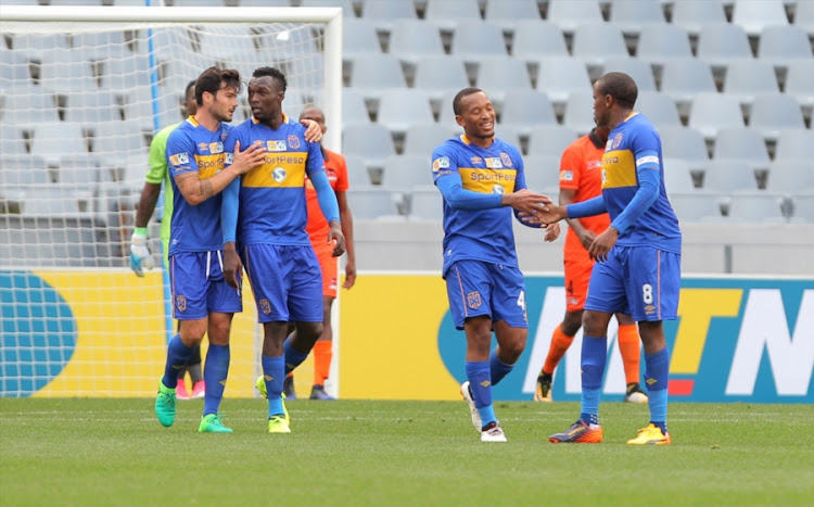 Cape Town City celebrating a goal during the MTN 8 Quarter Final between Cape Town City FC and Polokwane City at Cape Town Stadium on August 12, 2017 in Cape Town, South Africa.