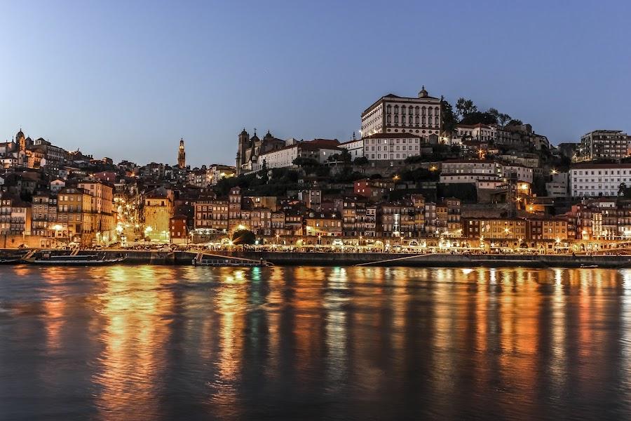 Ribeira,Porto,Portugal by Jose Mario Liz Neves - City,  Street & Park  Vistas ( night landscape, city night, douro, city, river )