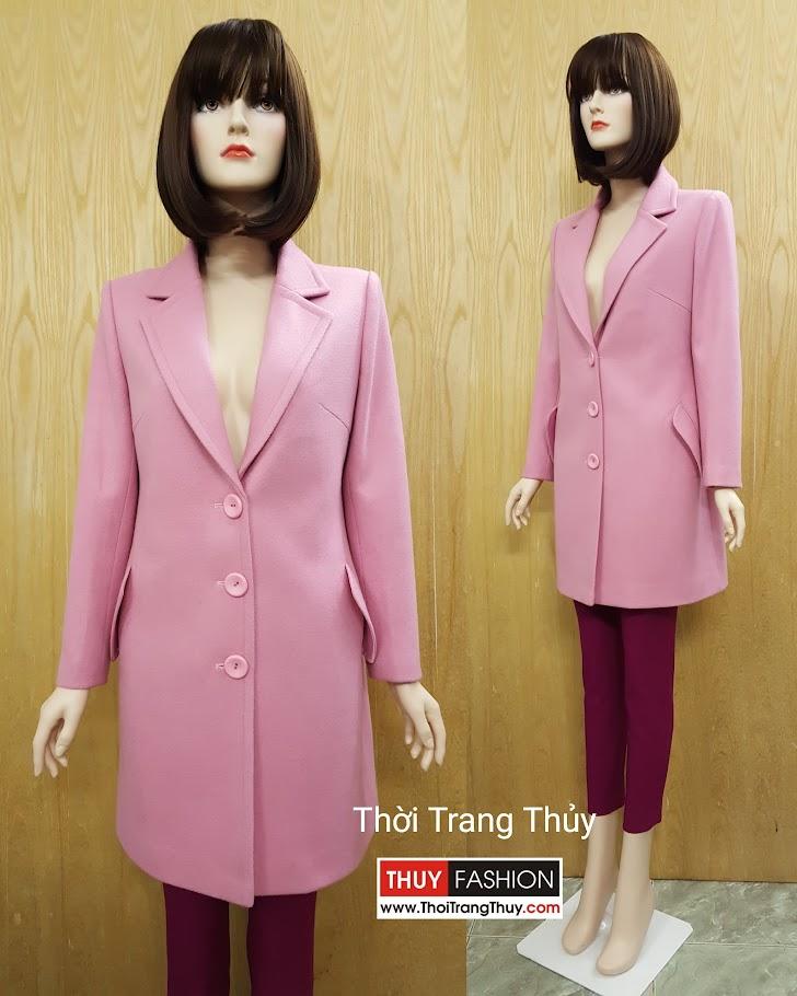 o dạ nữ dáng dài cổ vest với ba hàng cúc V490 tại Hải Phòng