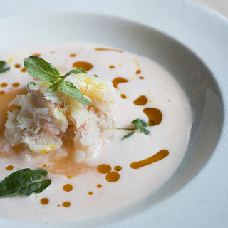 Cantaloupe And Mint Soup With Crab And Curry Oil.