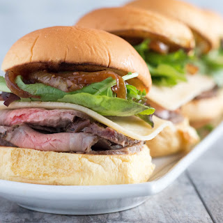 Roast Beef Sliders topped with Smoked Gouda and Caramelized Onions #SundaySupper