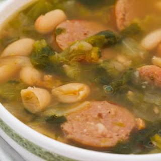 Cannellini Bean Soup Recipe with Roasted Italian Sausage and Escarole