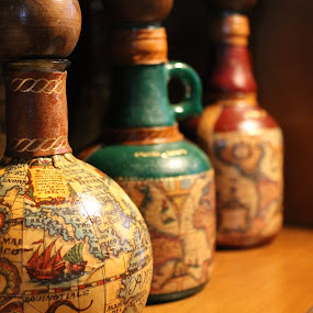 by Jessica Lunn - Artistic Objects Other Objects ( old, map, artistic, bottles )