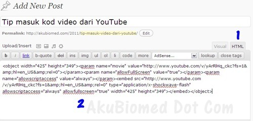 Tip blog masuk kod youtube didalam newpost