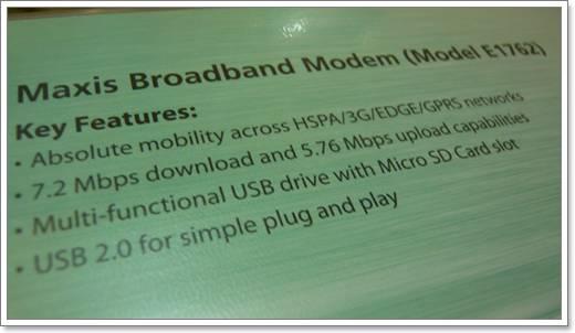 Ringkasan ciri USB Modem Huawei E1762