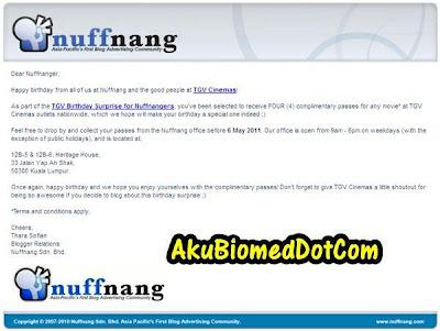 Birthday wish from Nuffnang